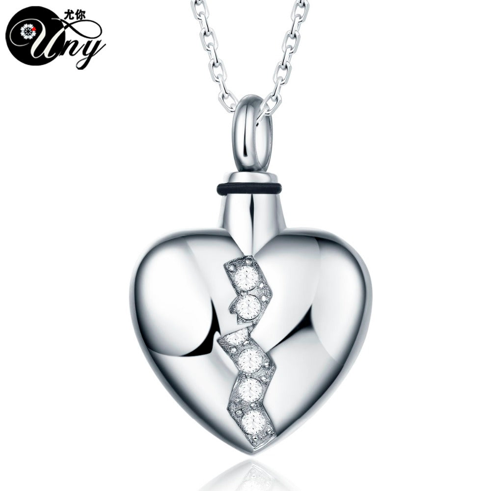 UNY Trendy Stainless Steel Broken Heart Pet Urn Ashes Pendant Perfume bottle Memorial Ash Keepsake Cremation Jewelry
