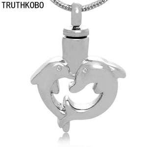 Stainless Steel Heart Dolphins Necklace Cremation Jewelry