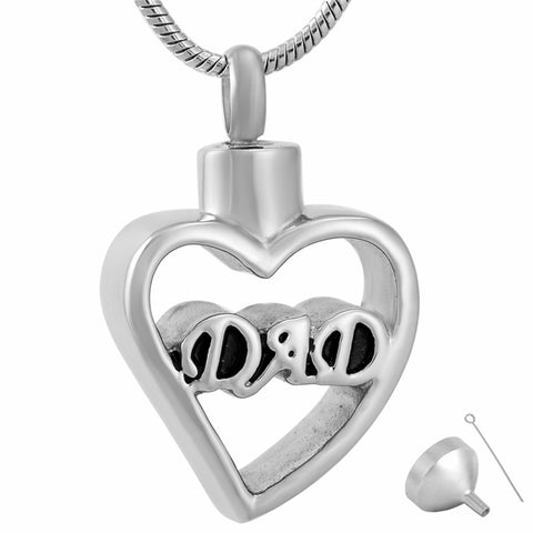 Stainless Steel Dad Love Heart Waterproof Cremation Urn Necklace Ash Memorial Jewelry