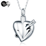 Trendy Stainless Steel Arrow in Heart Pet Urn Ashes Pendant Perfume bottle Memorial Ash Keepsake Cremation Jewelry