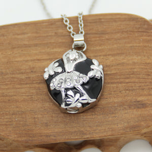 Jewelry crystal dancer girl with butterfly  Memorial Ash Urn Necklace