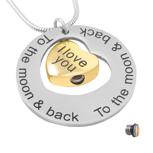 Stainless Steel Love You To The Moon And Sun Back Cremation Jewelry