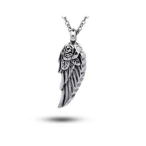 Stainless Steel Angel Wing Ash Pendant Cremation Jewelry