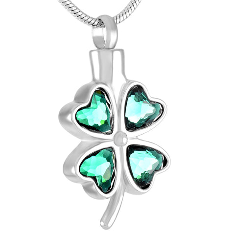 Stainless Steel Four Leaf Clover Pendant Necklace Cremation Jewelry