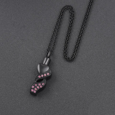 Stainless steel Charm Pink Crystal Cremation Jewelry