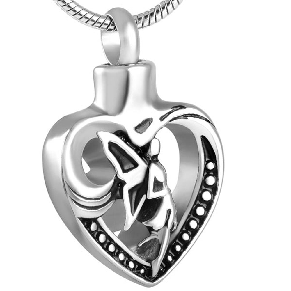 Women Stainless Steel Butterfly Angel Necklaces & Pendants Cremation Jewelry