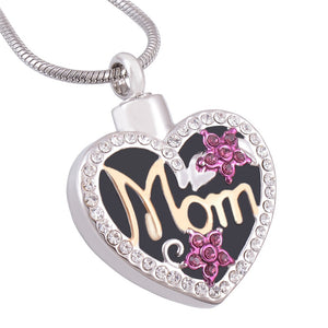 Two Tone Mom in Heart Memorial Cremation Jewelry