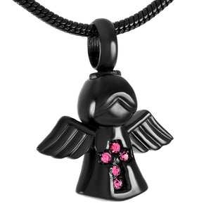 Stainless Steel Women Pink Rhinestone Fairy Angel Cremation Jewelry