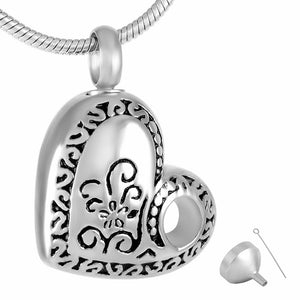 Stainless Steel Hollow Heart Shape Flower Cremation Jewelry