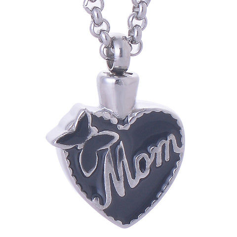 Stainless steel Mom in my Heart pendant necklace eternal cremation jewelry