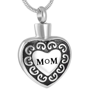 Women Pendant Necklace Stainless Steel Vintage Ash Cremation Jewelry for Mom
