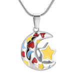 Star & Moon Pendant Necklace Stainless Steel Cremation Jewelry
