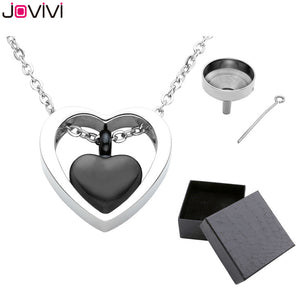 Stainless Steel Double Heart Urn Pendant Necklace Cremation Jewelry Ashes Keepsake Memorial
