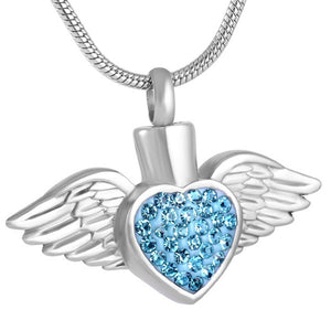 Angel Wing Feather Crystal Heart Cremation Jewelry Stainess Steel Keepsake