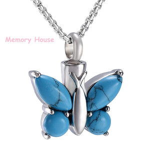 Multi-colored Crystal Butterfly Cremation Jewelry Stainless Steel Memorial Necklace