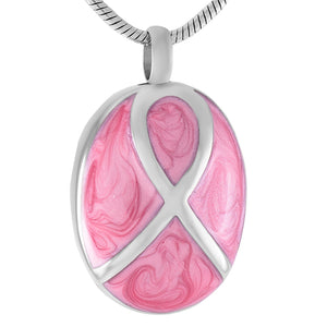Pink Breast Cancer Ribbon Capsule Memorial ash pendant stainless steel cremation jewelry for women