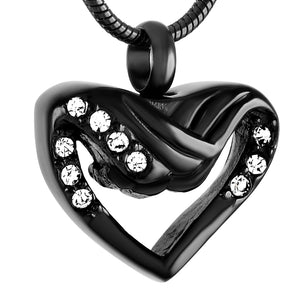 Wings & Heart Urn Pendant Memorial Jewelry Stainless Steel Pet Cremation Necklace