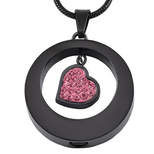 Stainless Steel Jewelry  Heart Shape Pink Crystal Cremation Necklace
