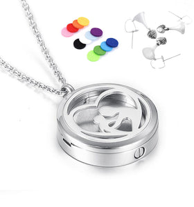 Stainless Steel Round Memorial Urn Locket Jewelry Mother & Child Heart Cremation Pendant Jewelry  (Can Put the photo )
