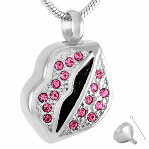 Cremation Jewelry Pendant Lips Crystal  Necklace