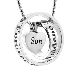 Silver My Mom Dad Son Sister My Friend Urn Necklace Circle Life Cremation Jewelry