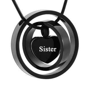 Stainless Steel Cremation Jewelry Necklace Circle Life for Your Love Mom, Dad, Sister, Son, And Brother