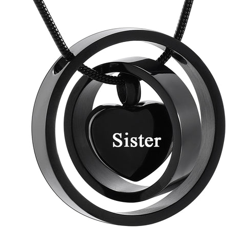 Stainless Steel Pendant Necklace Circle Life for Your Love Mom Dad Sister Son Brother