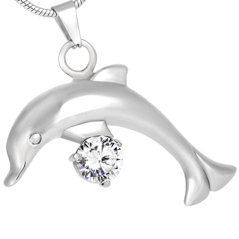 Stainless Steel Dolphin With Big Zircon Pendant Locket Cremation Jewelry
