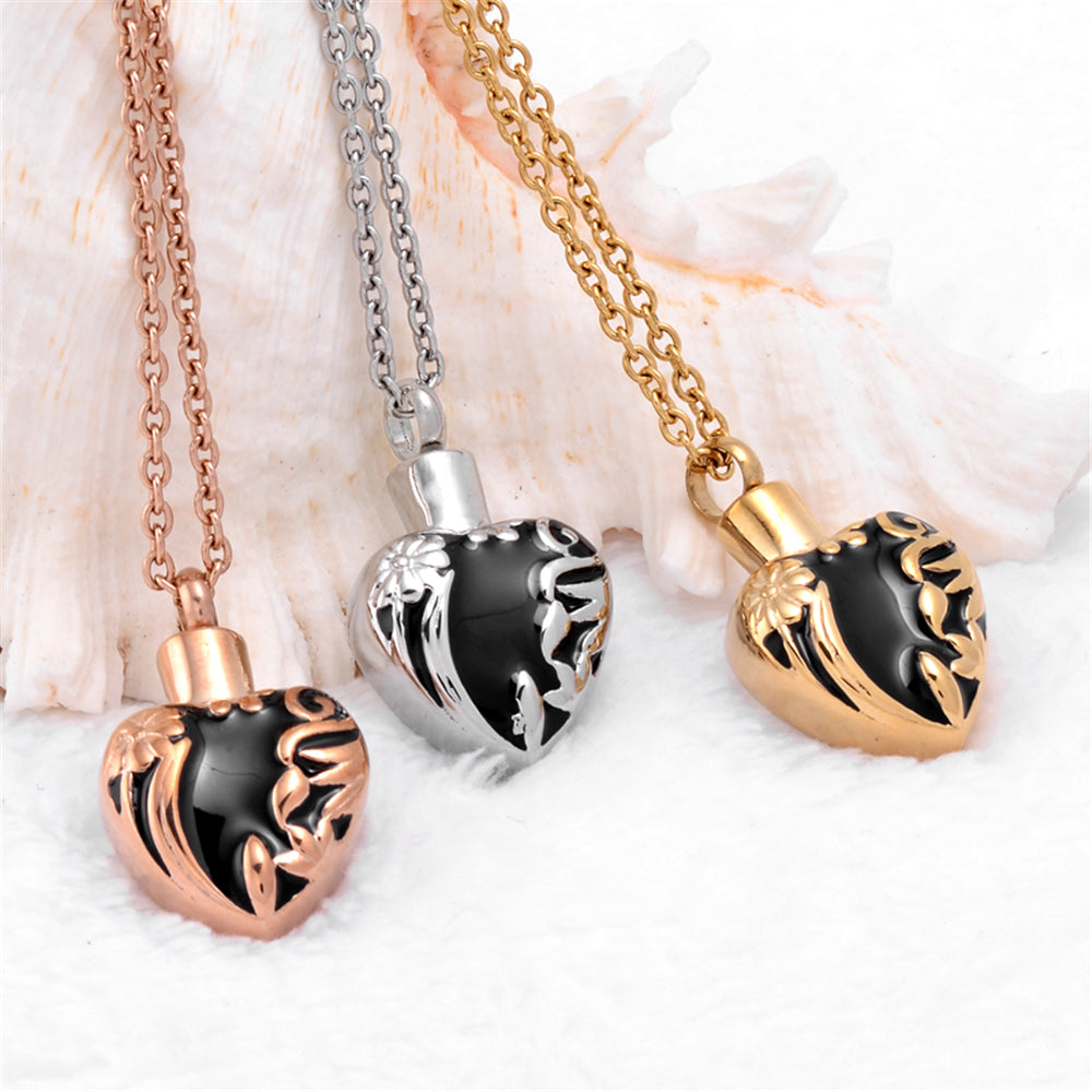Plated Flower Stainless Steel Locket Necklace Cremation Jewelry