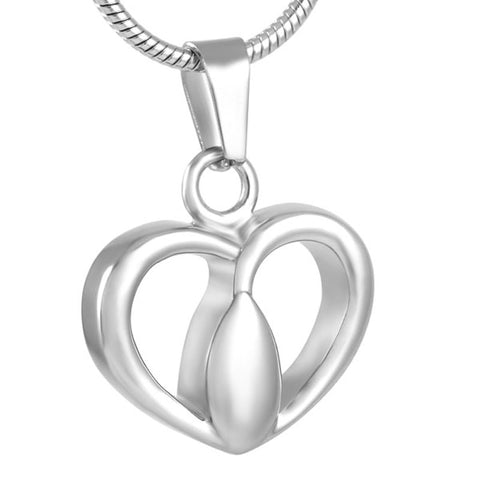 Stainless Steel Teardrop Center Of Heart Cremation Pendant Keepsake Necklace Cremation Jewelry