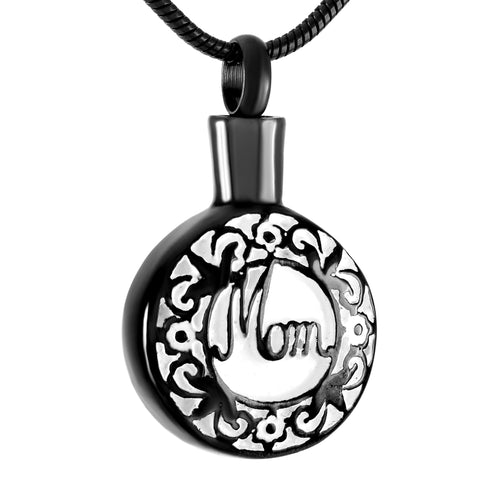 Silver, Gold, Rose Gold, Black Stainless Steel Mom Necklace Cremation Jewelry