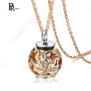 Cremation Jewelry Ashes Pendant Necklace with Hollow Crystal Butterfly Rose Gold Beads