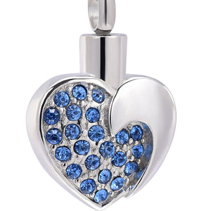 Heart Crystal Women Cremation Stainless Steel Memorial Necklace Keepsake Jewelry