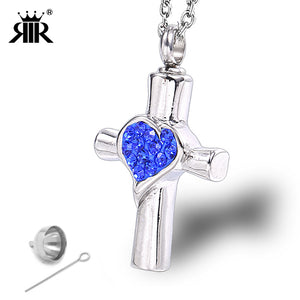 RIR Birth Stone Blue Cross Crystal Cremation Pendant Necklace Cremation Jewelry