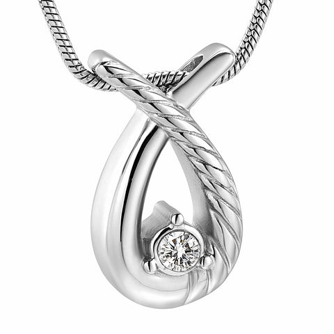 Crystal Cremation Jewelry Pendant Silk Ribbon Memorial Necklace Stainless Steel Keepsake Jewelry