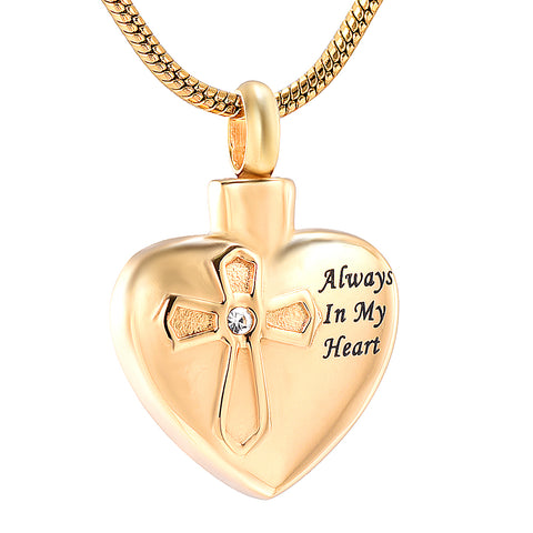 Always In My Heart Crystal Cremation Jewelry Stainless Steel Keepsake Necklace