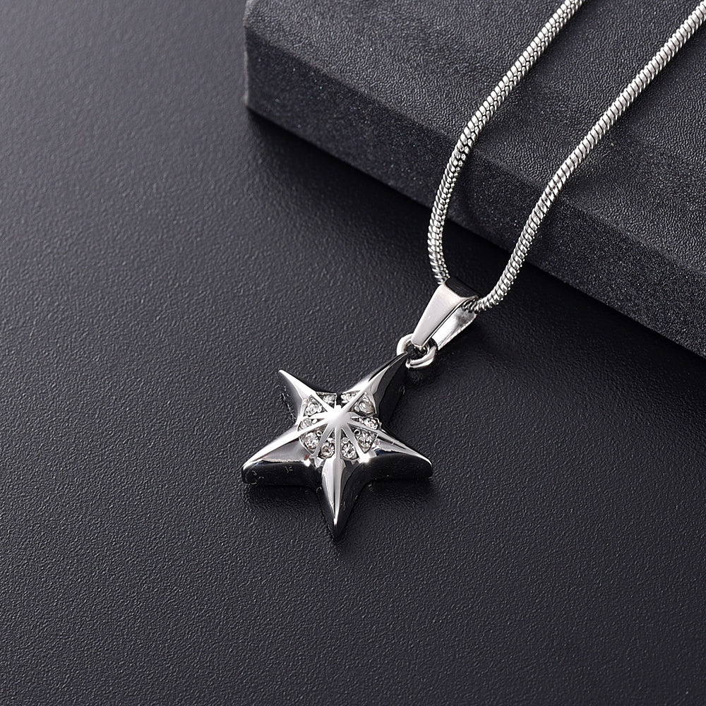 Infinity Crystal Star Cremation Jewelry  Stainless Steel Memorial Necklace