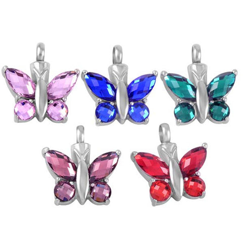 Crystal Butterfly Cremation Pendant Necklace Keepsake Jewelry
