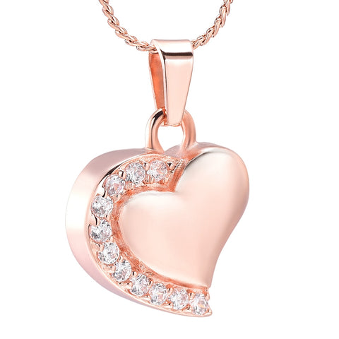 Crystal  Heart Cremation Jewelry Stainless Steel Memorial Necklace