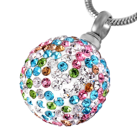Crystal Ball Cremation Pendant Necklace Keepsake Cremation Jewelry
