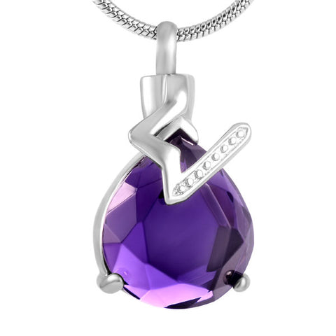 Purple Crystal Water Drop Pendant Stainless Steel Keepsake Cremation Jewelry