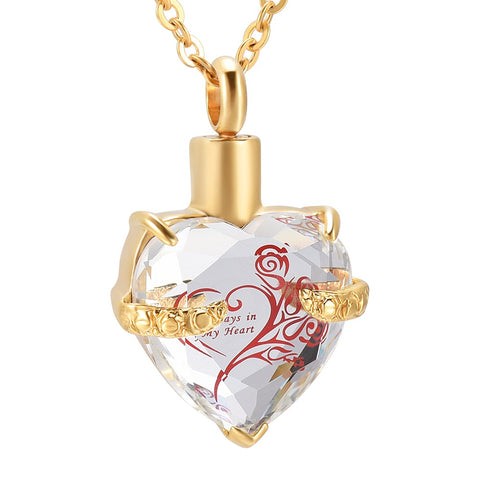 Glass Cremation Jewelry Always in My Heart Flower Birthstone Pendant Necklace