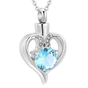 Heart Crystal Urn Cremation  Pendant Necklaces Keepsake Jewelry