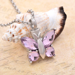 Pink Crystal Butterfly Keepsake Cremation Jewelry