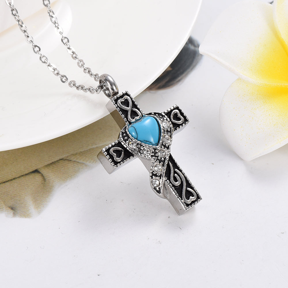 Staniless Steel Blue Birthstone Cremation Urn Necklace Cross Cremation Jewelry