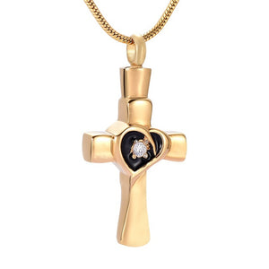 Gold Cross Heart Cremation Memorial Necklace CZ Stainless Steel Cross Cremation Jewelry
