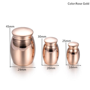 Mirror Finished Cremation  Mini Urns for Human Ashes Set of 3 Size Stainless Steel