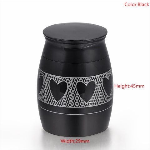 Love Heart Around Black Stainless Steel Mini  Cremation Ashes Urn