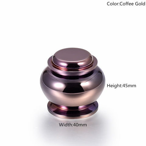 Coffee Gold Mini Cremation Urns, Stainless Steel Eternal Peace