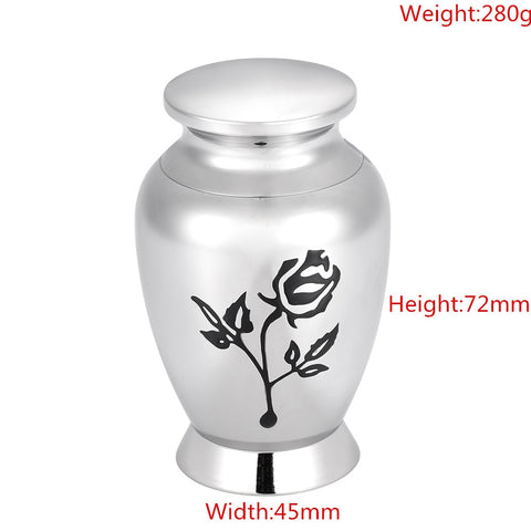 Rose Flower Stainless Steel Cremation Mini  Urn/Jar